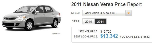 TrueCar 2011 Nissan Versa 1.8 S
