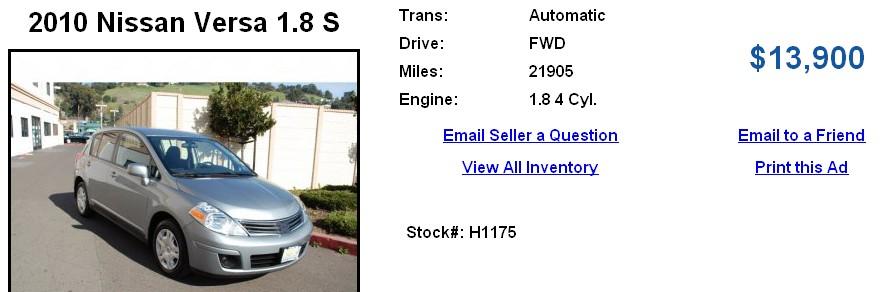 Craigslist 2010 Nissan Versa