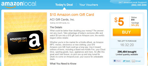 AmazonLocal - Amazon Local Gift Card Deal