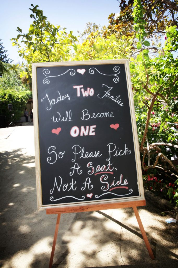 Wedding Chalkboard Pick a Seat Not a Side